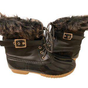 Black Furry Cuff Duck Rain Boots, Sherpa lining